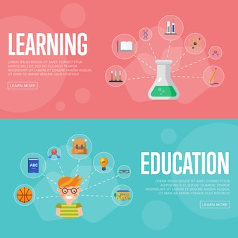 Banners de infográficos de educação