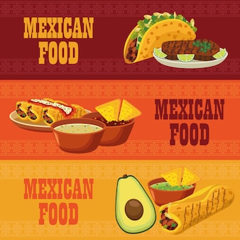 Banners de inscrições de comida mexicana com menus fixos.