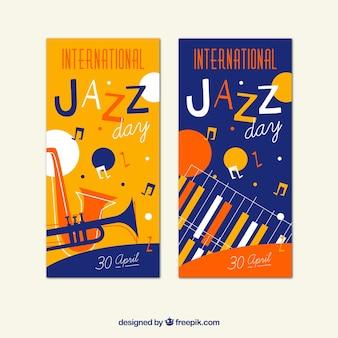 Banners de jazz coloridos no estilo retro