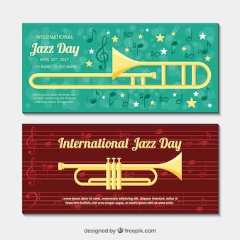Banners de jazz com instrumentos musicais planas