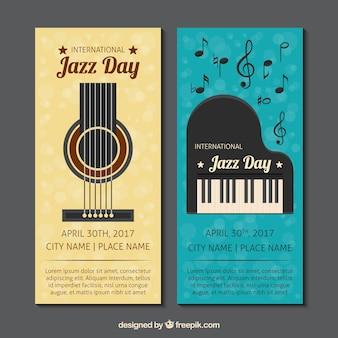 Banners de jazz do vintage com guitarra e piano