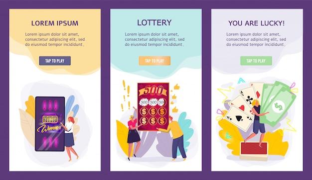 Banners de jogos de cassino, vencedores do jackpot de pessoas pequenas, conceito de loteria para aplicativos móveis, ilustração