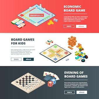 Banners de jogos de tabuleiro. banners horizontais com vários conceitos de jogos de tabuleiro