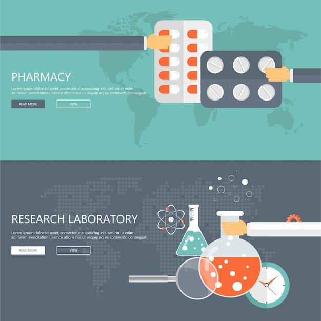 Banners de laboratório de farmácia e pesquisa