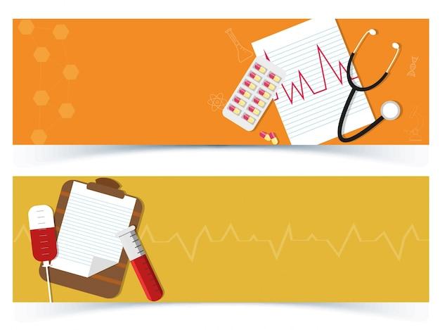Banners de laranja com design médico