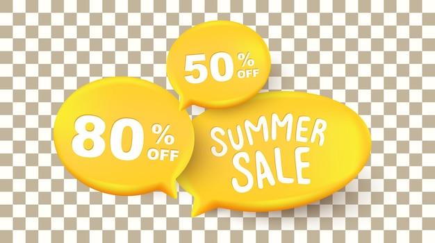 Banners de layout de plano de fundo de venda de verão com o texto da bolha fale no plano de fundo transparente