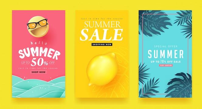 Banners de layout do verão venda fundo. desconto de voucher. modelo de ilustração.