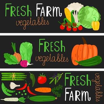 Banners de legumes dos desenhos animados