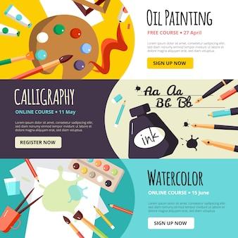 Banners de lições de arte e artesanato
