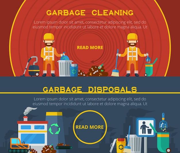 Banners de limpeza de lixo