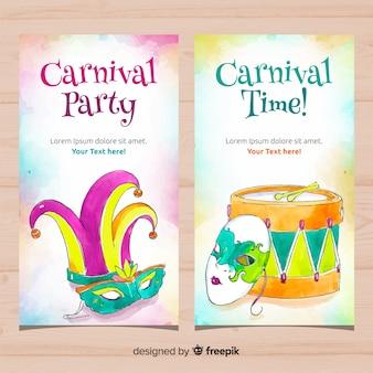 Banners de lindo carnaval aquarela