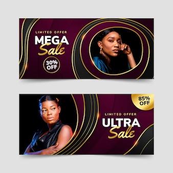 Banners de liquidação de luxo dourado gradiente com foto