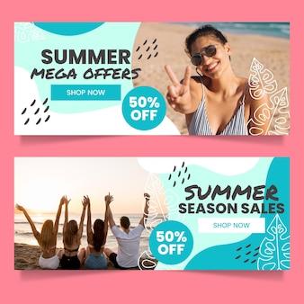 Banners de liquidação de verão em gradiente com foto
