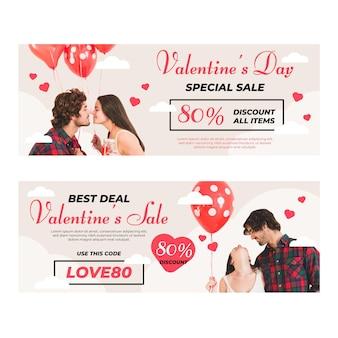 Banners de liquidação do dia dos namorados com coleção de fotos