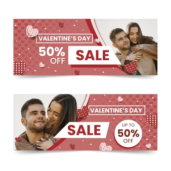 Banners de liquidação do dia dos namorados com foto