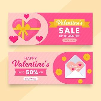 Banners de liquidação do dia dos namorados com ilustrações