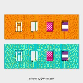 Banners de livros em design plano