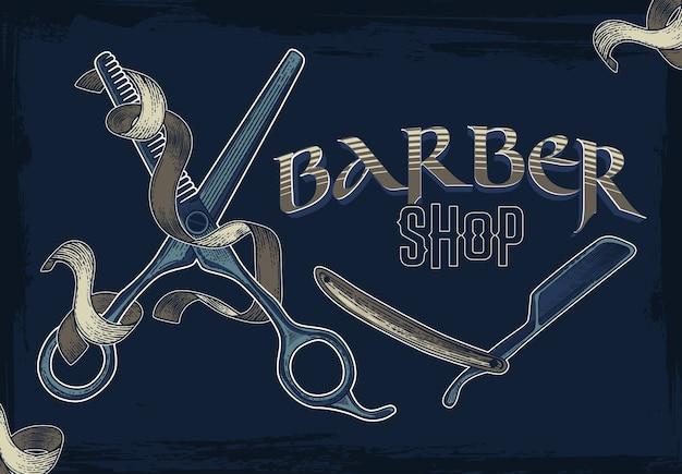 Banners de loja de barbeiro de mão desenhada vector