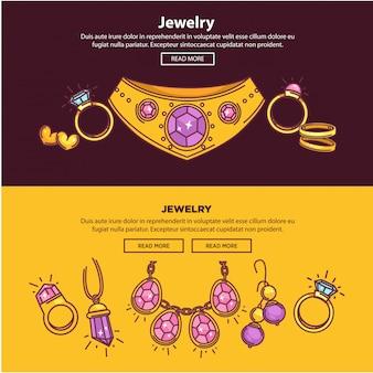 Banners de loja de joias web ou design de modelo plana de vetor de página