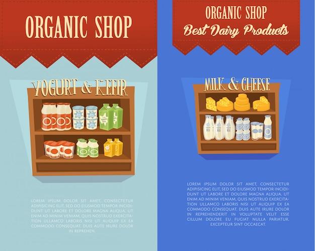 Banners de loja orgânica com prateleiras de supermercado