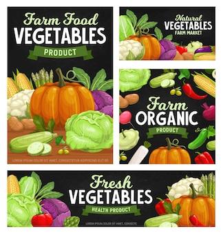 Banners de lousa de alimentos vegetais frescos com vegetais de desenhos animados.