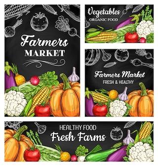Banners de lousa de vegetais de fazenda com esboços de tomate