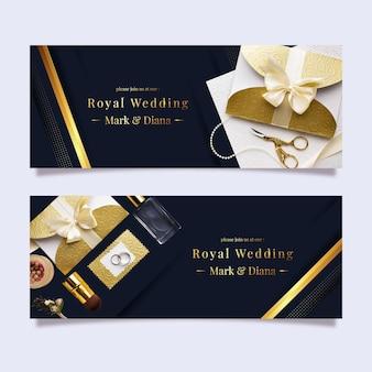 Banners de luxo horizontais dourados em gradiente com foto