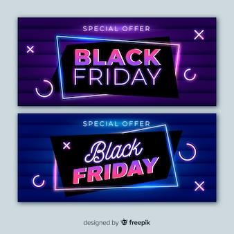 Banners de luz de neon preto sexta-feira com design minimalista
