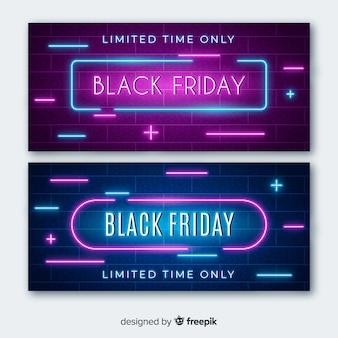 Banners de luz de neon preto sexta-feira com sinais de mais e menos