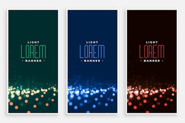 Banners de luzes lindo bokeh definido