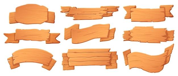 Banners de madeira. placas de madeira, placa de banner e quadro indicador de desenho animado definido para o jogo