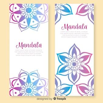 Banners de mandala decorativa de mão desenhada