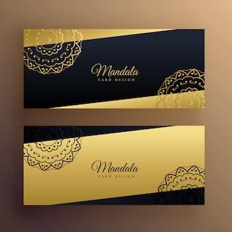 Banners de mandala dourada elegante design