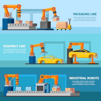 Banners de manufatura automatizada industrial