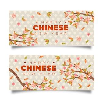 Banners de mão desenhada ano novo chinês
