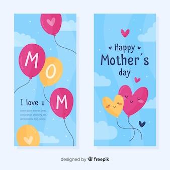 Banners de mão desenhada balões dia das mães
