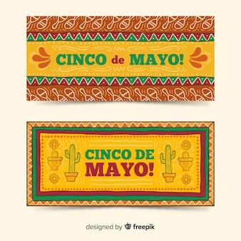 Banners de mão desenhada cinco de maio