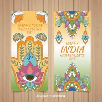Banners de mão desenhada dia da independência da índia