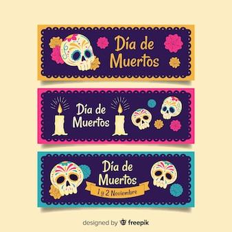 Banners de mão desenhada dia de muertos