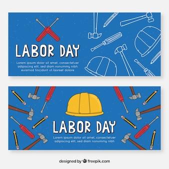 Banners de mão desenhada dia do trabalho americano