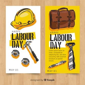 Banners de mão desenhada do dia do trabalho
