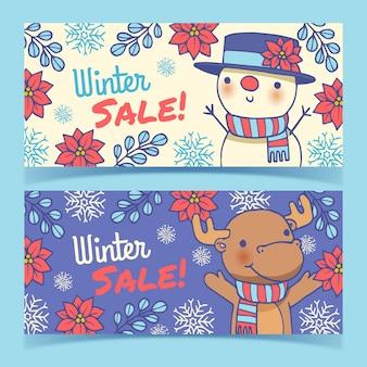 Banners de mão desenhada inverno venda