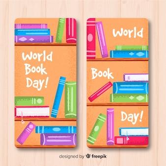 Banners de mão desenhada mundo livro dia