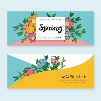 Banners de mão desenhada primavera venda