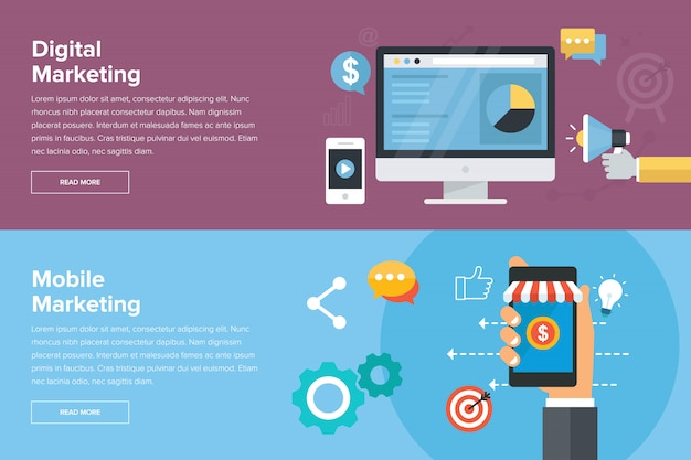 Banners de marketing digital e marketing móvel