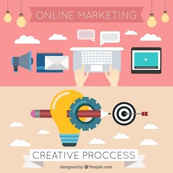 Banners de marketing e elementos do blog em design plano