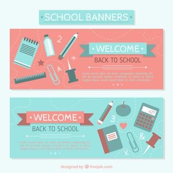 Banners de materiais para voltar para a escola
