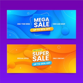 Banners de mega vendas abstratos em gradiente
