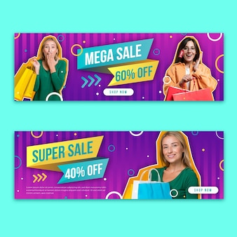 Banners de mega vendas gradientes com foto