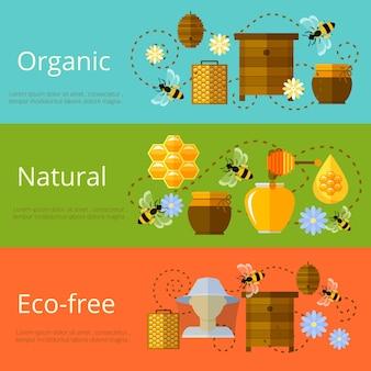 Banners de mel, apicultura e açúcar ecológico natural